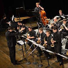 Jazz ensemble performing onstage