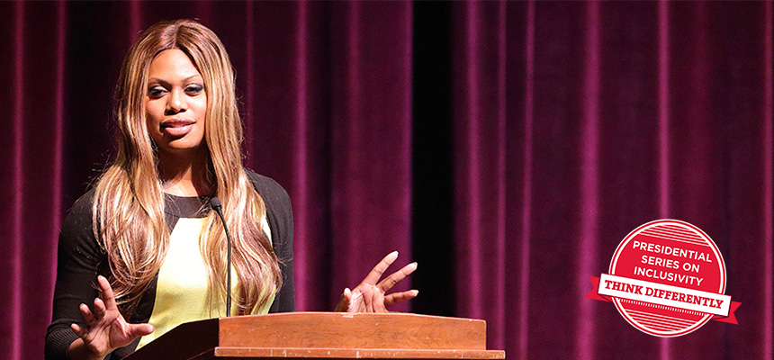 Laverne Cox stands at a podium. Small red badge at right: Presidential Series on Inclusivity. Think Differently.