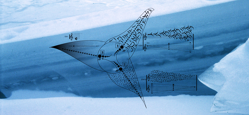 Stylized scene of icy water and terrain overlaid with notation used in Auksalaq performances