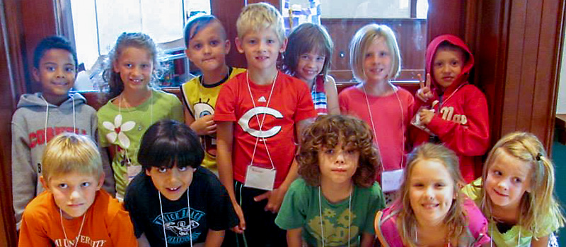 A group of children pose at the 2014 Missoula Childrens Theatre Drama Camp