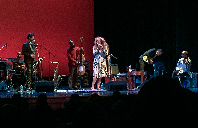 Cassandra Wilson and band on stage at Hall Auditorium