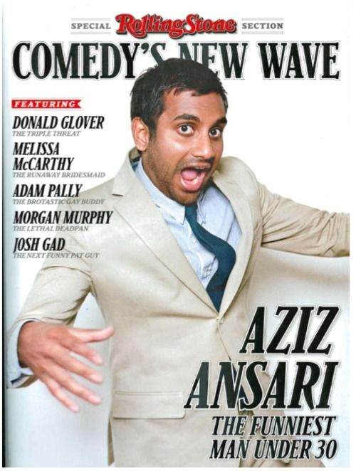 Aziz Ansari on the cover to Rolling Stone magazine