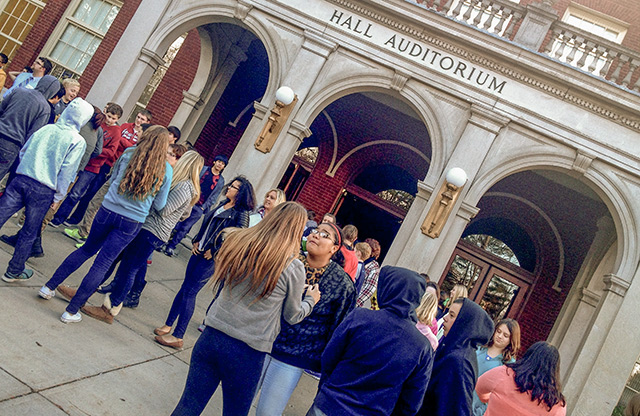 Talawanda 8th graders came to Hall for LATW's show, And Justice for All