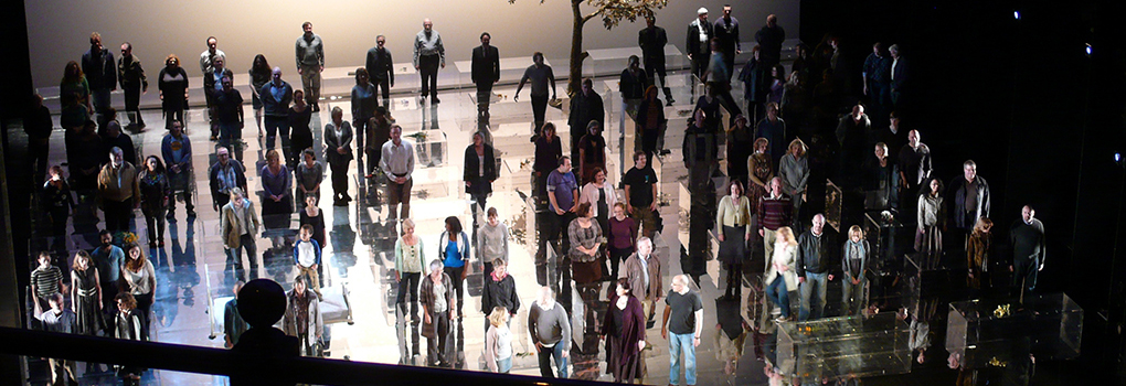 A production of Messiah rehearses blocking onstage