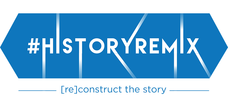 Blue angular blocks with text History Remix re-construct the story