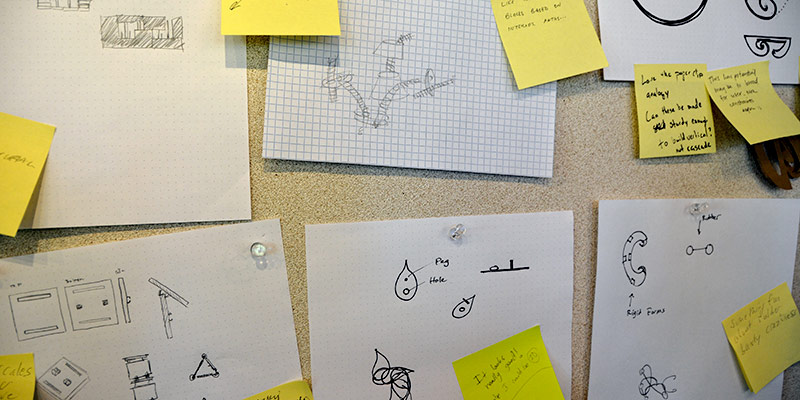 sketches of design plans on a wall