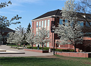 Springtime view of plaza and Art Building, home of the Department of Art