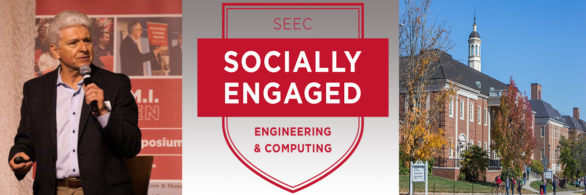 Composite picture: A photo of Dean Dollár giving a speech, a banner that says SEEC Socially Engaged Engineering and Computing, and a photo of the outside of Benton Hall, Garland Hall, and the Engineering Building