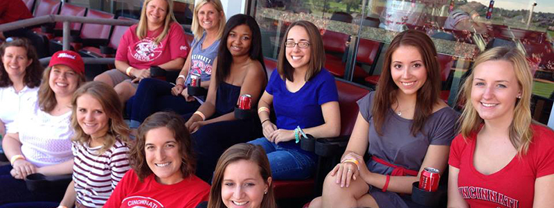 Lady cohort members at Reds Game