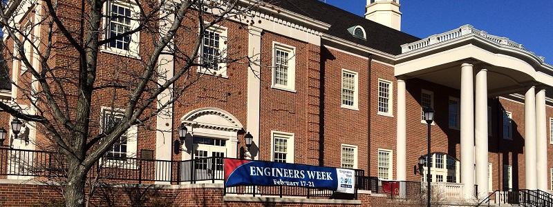 Engineers Week banner displayed outside of Benton Hall