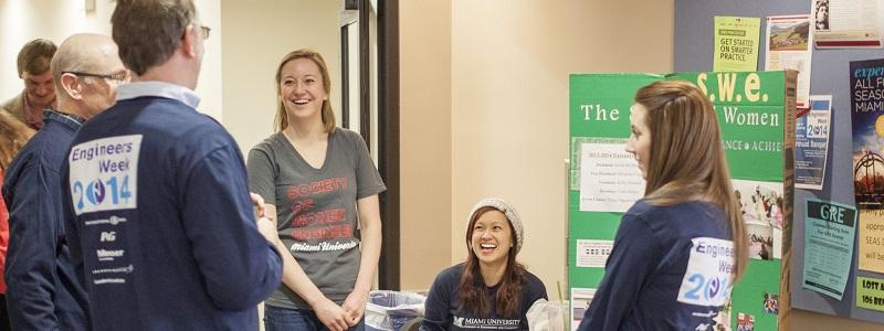Students enjoying last years eweek showcase