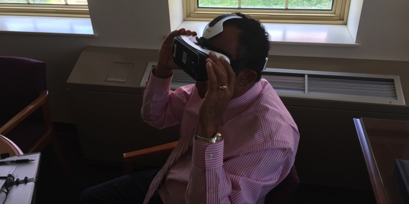 Dean Dantley tries out virtual reality headset
