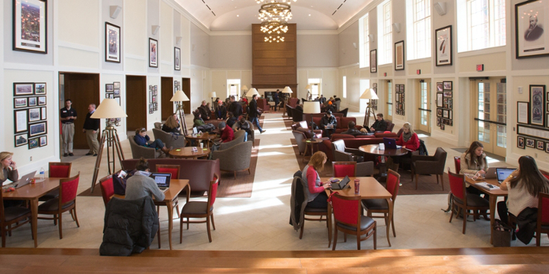 Students studying, conversing and collaborating in the Armstrong Student Center