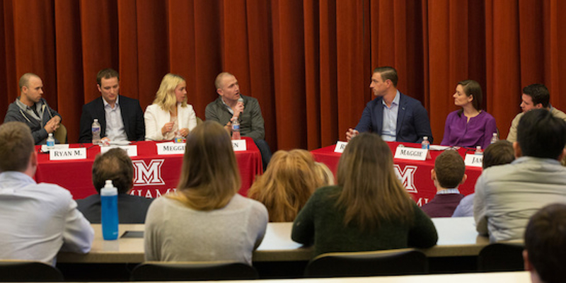 Professionals speaking on panel at Miami University