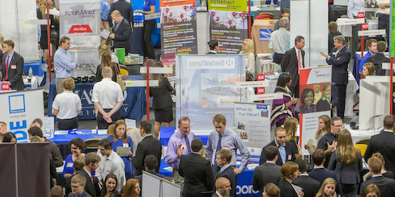 Students and employers conversing at the Miami University Career Fair