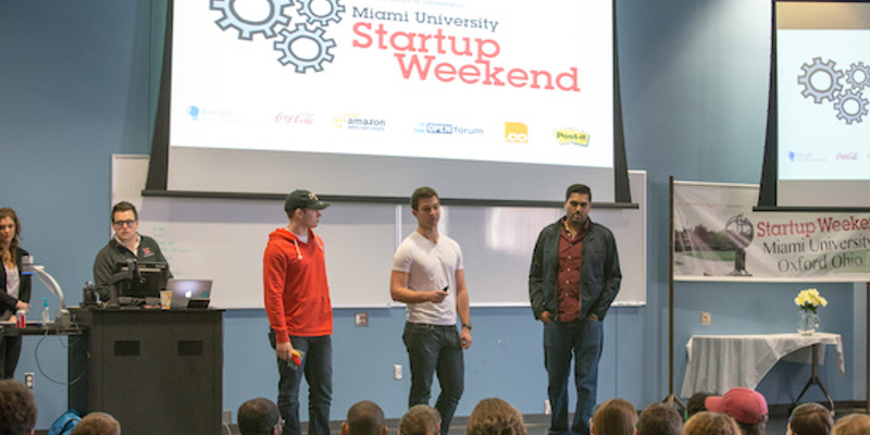 Group of students presenting on stage for Miami University Startup Weekend