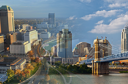 Photo montage of Cincinnati and Columbus