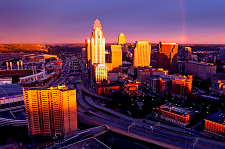 A photograph of the Cincinnati cityscape at dawn