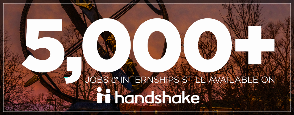 photo stating over 5000 jobsinternships available on handshake