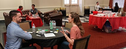 Students and executives talk one-on-one