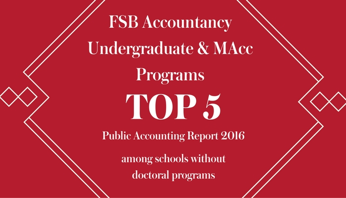 white text on red background - FSB Undergraduate and MAcc Programs Top 5 Public Accounting Report among schools without doctoral programs