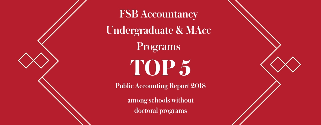 Graphic showing top 5 placement of undergrad and MAcc programs