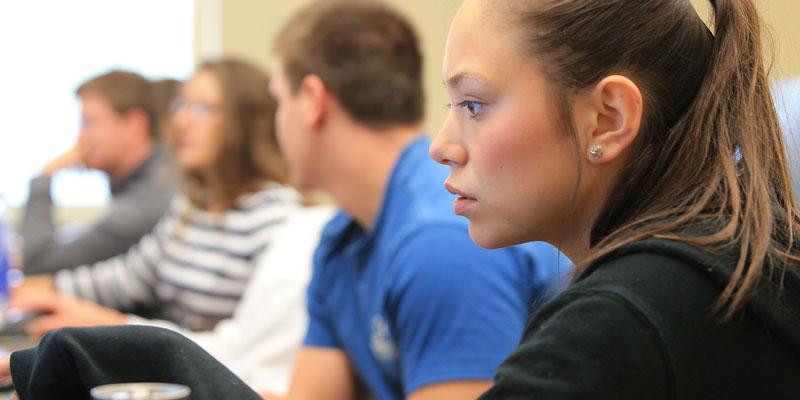 Female student focuses in class