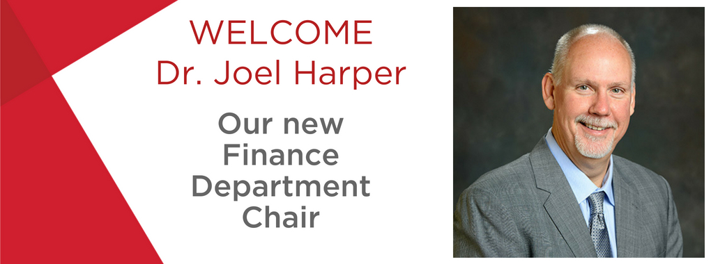 Welcome Dr. Joel Harper, the new Finance department chair. Photo of Joel