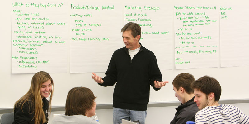 Group of four students work with professor and brainstorm ideas on whiteboard