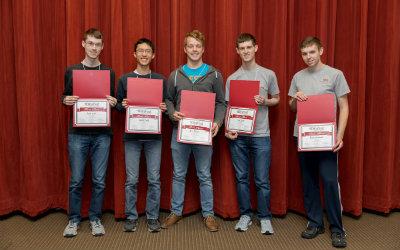 Winning team for DataFest 2017: Seth Levitt, Vincent Tong, Chris Paxton, Adam Levitt, Ryan Wiedwald