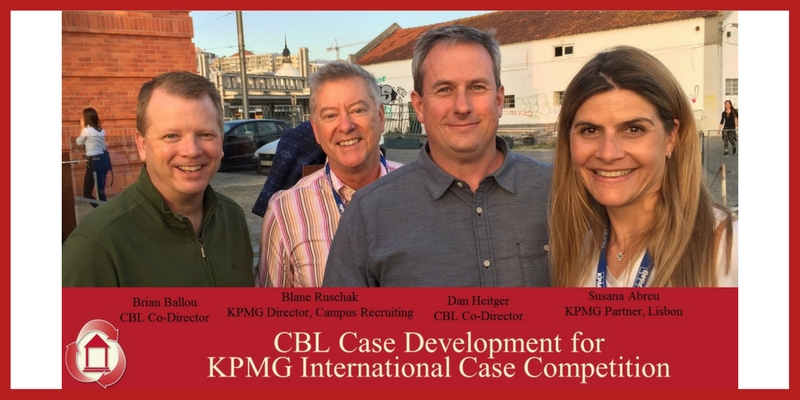 CBL Case Development for KPMG International Case Competition. Pictured - Brian Ballou, CBL Co-Director, Blane Ruschak, KPMG Director, Campus Recruiting, Dan Heitger, CBL Co-Director, Susana Abreu, KPMG Partner, Lisbon