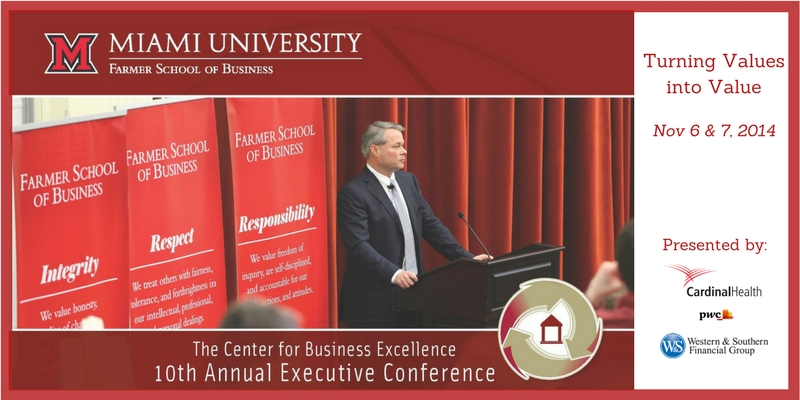 The Center for Business Excellence 10th Annual Executive Conference, Turning Values into Value, Nov 6 and 7, 2014. Picture of a man at a podium in front of the FSB banners of Integrity, Respect, Responsibility