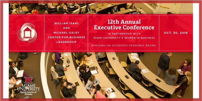 White words on red banner that say, William Isaac and Michael Oxley Center for Business Leadership, 12th Annual Executive Conference, In partnership with Miami University