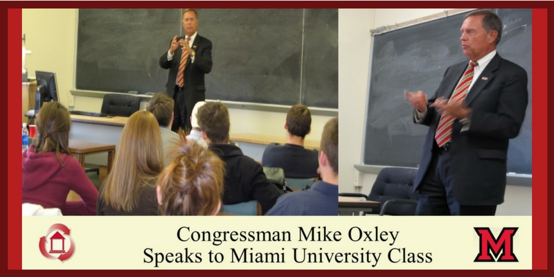 Congressman Mike Oxley Speaks to Miami University Class