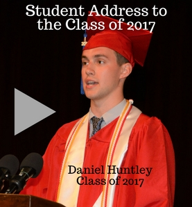 Student address to the class of 2017 by Daniel Huntley, MU 2017. Photo of Daniel with link to videotaped speech