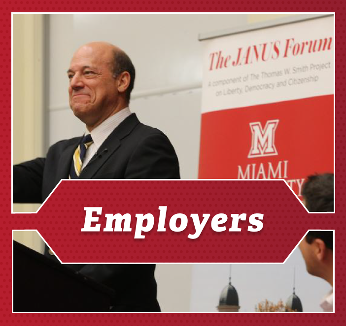Employers - A professor speaks before a crowd at the Janus Forum