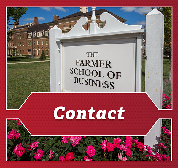 Contact Us - sign reading Farmer School of Business in front of the building