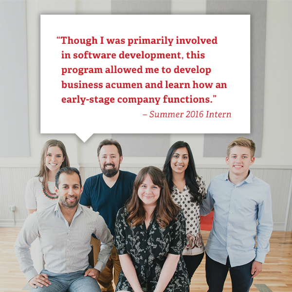 Altman interns at a worksite with student quote in word box above. Summer 2016 intern is quoted. Though I was primarily involved in software development this program allowed me to develop business acumen and learn how an early stage company functions