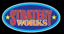 StrategyWorks logo, red and orange letters on a blue oval on black background