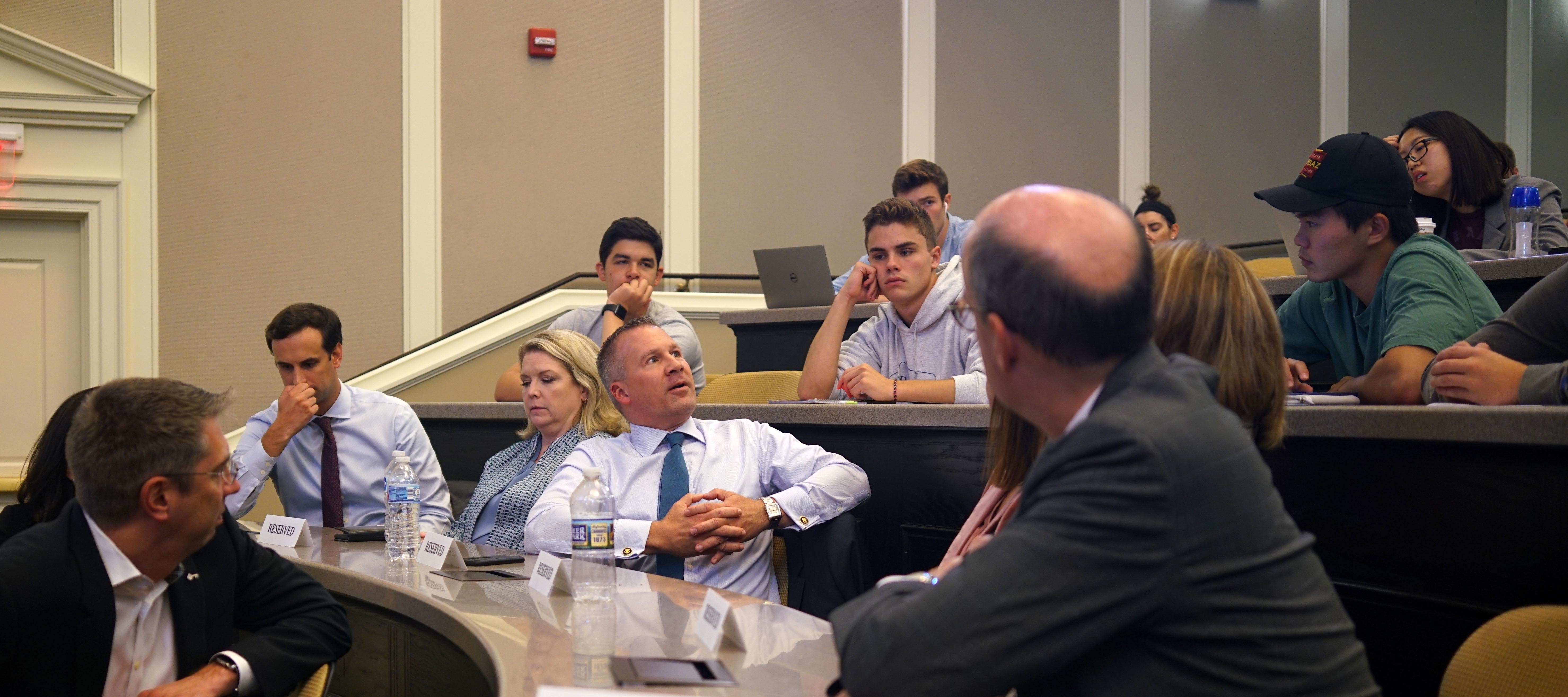 A Fifth Third Bank executive answer a student's question at a presentation
