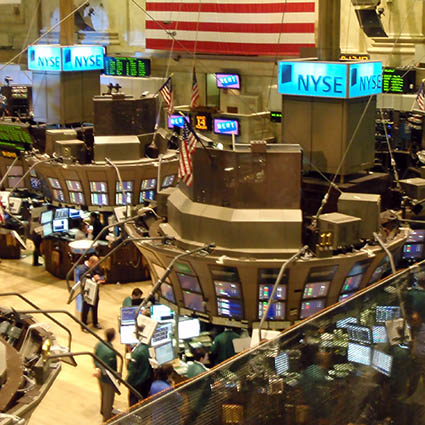 Generic photo of trading floor and big board