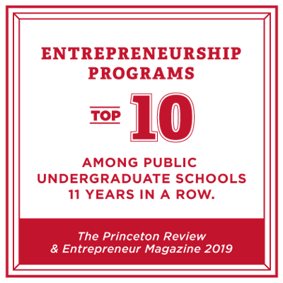 Top 10 entrepreneurship program among public schools for 10 years in a row