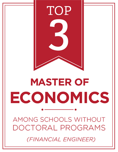 #3 for masters of economics among schools without doctoral programs