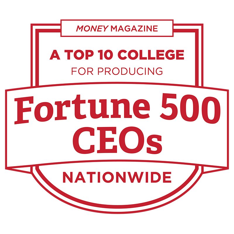 A top 10 College for producing Fortune 500 ceos nationwide