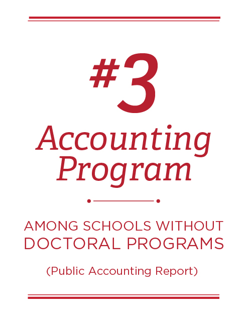 #3 Accounting program among schools without doctoral programs (Public Accounting Report)