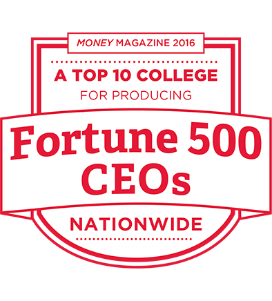 Money Magazine 2016- a top college for producing Fortune 500 CEOs nationwide