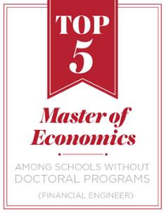 Top 5. Master of Economics. Among schools without doctoral programs. (Public Accounting Report)