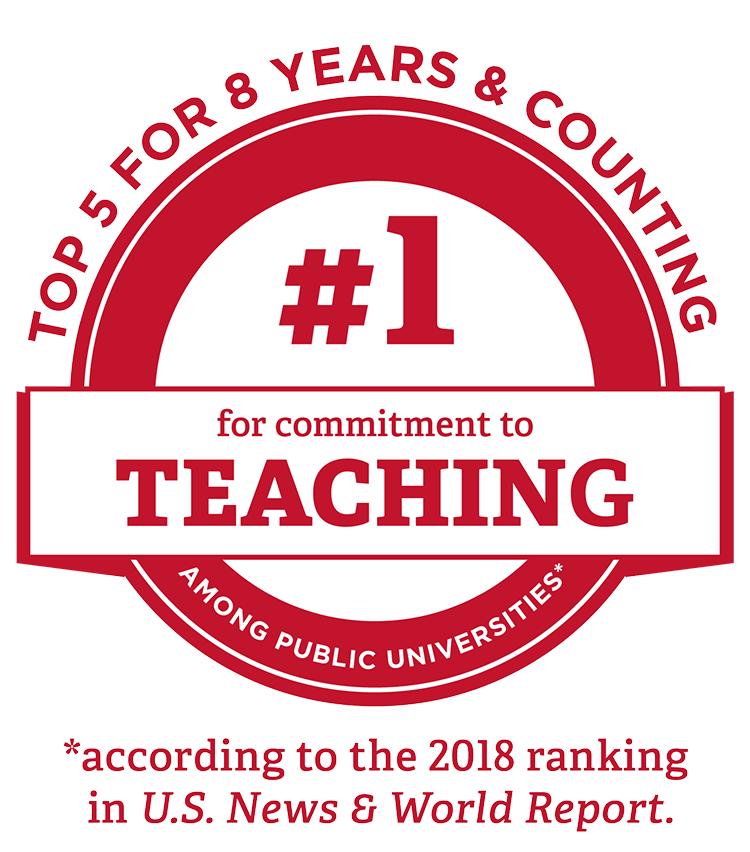 #1 for commitment to teaching among public universities according to the 2018 ranking in U.S. News and World Report - Top 5 for 8 years and counting