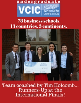Out of 78 business schools representing 13 countries from 3 continents, the Miami team coached by Tim Holcomb was the runner-up at the International Finals of the Venture Capital Investment Competition! Photo of five student team members holding check for $1,000