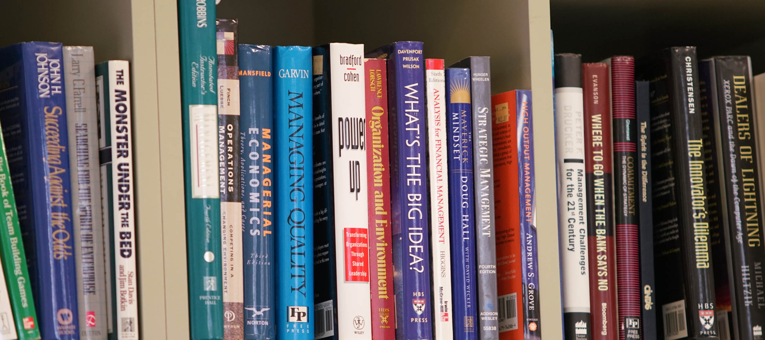 A row of books in the Institute for Entrepreneurship conference room